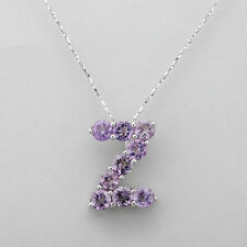 Initial Z letter necklace With 2.25ctw Genuine Amethyst in 925 Sterling Silver