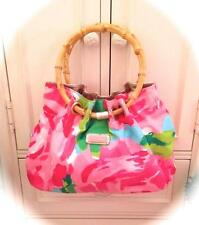 STUNNING LILLY PULITZER *FIRST IMPRESSIONS* BAG~PURSE BAMBOO HANDLES! PINK ROSES