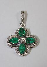 14k White Gold 4 Oval Emerald And White Round Diamond Floral Design Pendant