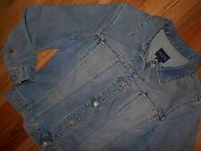 Denim Jean Jacket L Women 14-16 Blue Cropped Trucker Coat Limited 6d37