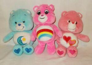"Care Bears Lot of 3 Stuffed Plush 10"" Bedtime Cheer Love A Lot Bear"