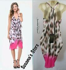 NWT BEBE Print Draped Dress SIZE M Effortlessly chic, beautiful MSRP$137