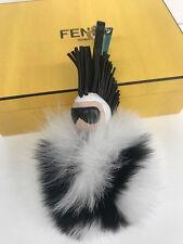 FENDI SUPER KARLITO BLACK WHITE FOX FUR BUG MONSTER DRESS BAG CHARM NEW IN BOX