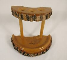Vintage Rustic PIPE HOLDER Tree Bark Rack Portland ME Maine Wood Souvenir