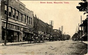 MARYVILLE, TENNESSEE - BUSY HORSE-DRAWN STREET SCENE - OLD POSTCARD