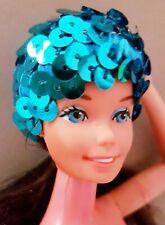Kopfband Pailletten Blau für vintage Barbie Model Muse Superstar weitere Puppen