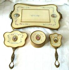 VICTORIAN STYLE GOLD ORMOLU GUILLOCHE ENAMEL PORTRAIT VANITY DRESSER SET-VINTAGE