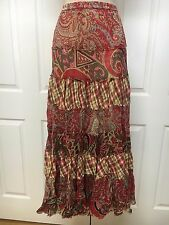 Solitaire Los Angeles Red Paisley Plaid Tiered Long Hippie Boho Skirt Sz S