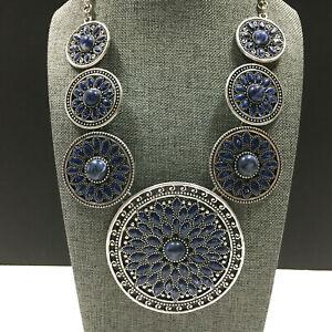 CHICO'S Silver & Blue Lapis CONCHO Necklace Disk Southwest Statement  MM65M
