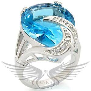 Brilliant Pear Cut Top Grade Blue Crystal Engagement Fashion Ring 0w343