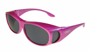 Global Vision Fanfare 2 Rhinestone Fitover Sunglasses Pink/Smoke Medium Size