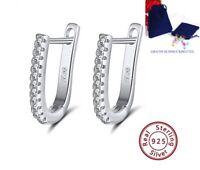 Creolen Oval 925 Silber Zirkonia Kristalle Ohrringe Damen Ohr-Schmuck Geschenk