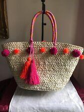 Absolutely fabulous Boden ExLarge Straw Handbag Tote Fantasic Colors - Retired