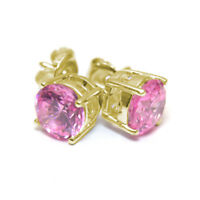 Diamond-Unique Pink Sapphire 2ct Solitaire Solid Gold 9ct Stud Earrings
