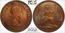 1964 GREAT BRITAIN ONE PENNY PCGS MS64BN COLOR TONED COIN NONE GRADED HIGHER