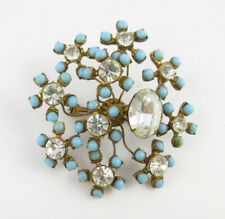 Early 1930's French Turquoise glass and  Rhinestone flower spray brooch
