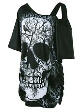 Women Casual Short Sleeve Skull Print T Shirt Plus Size Off Shoulder Blouse Tops