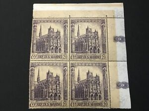 old stamps  SAN MARINO  block of 4 Cattedrale di Amiens 20 lire