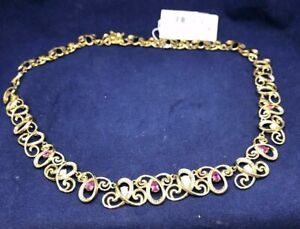 """18k Gold Over Silver Lab Opal and Sapphire Swirl Necklace MSRP $650.00 17"""""""