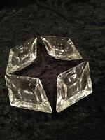 Vintage 1960's Set of 4 DIAMOND-SHAPED GLASS ASHTRAYS Mid-Century Modern Style