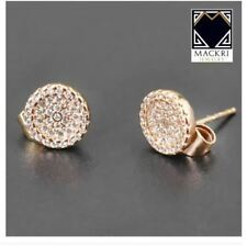 MACKRI Round Shaped with Diamonds Bits Stud Earrings