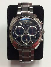 BULOVA Men's CURV Two-Tone Stainless Steel Blue Dial Chronograph WATCH 96A185