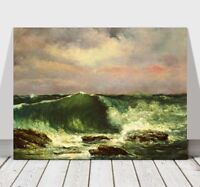 GUSTAVE COURBET - Waves - CANVAS ART PRINT POSTER - Ocean Sea - 10x8""