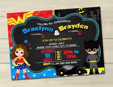 Wonder Woman Batman Birthday Invitations 10 5x7 Printed