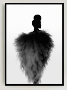 FEATHER LADY,  art print on canvas, A4 size approx