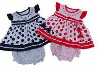 BNWT Baby girls red or navy spotty summer dress knickers hairband 6 sizes