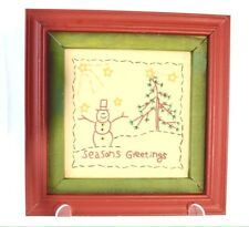Vintage Christmas Tree Snowman Needlework Embrodery Framed Picture