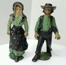 "Vintage Amish Cast Iron Mennonite 5"" Man & Woman Figures Hand Painted Old Set"