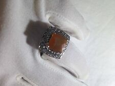 Vintage Genuine Orange Fire Opal White Sapphire Deco 925 Sterling Silver Ring