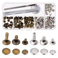 Rivets Single Cap Rivet Tubular Metal Studs with Fixing Tool Kit for Leathe U8T1