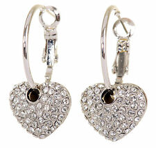 Swarovski Elements Crystal Starlet Puffed Heart Earrings Rhodium Authentic 7116z