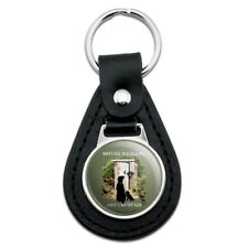 Nature is Calling and I Must Go Outhouse Labs Dogs Black Leather Keychain