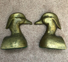 vintage pair of DUCK Solid Brass  BOOKENDS. UNIQUE