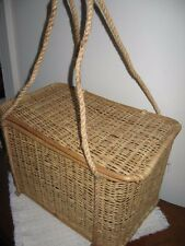 """Woven Rattan Picnic or Carry Basket with Lid and Long Rope Handles 10""""Tx16""""x10&#03 4;"""