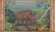Black Rhino Animal Art Handmade Indian Miniature Watercolor Wild Life Painting