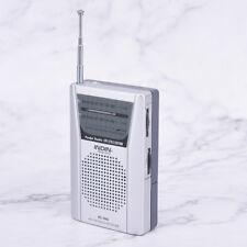 3.5mm Silver Earphone Small Pocket AM FM Radio Speaker Telescopic Antenna Jack