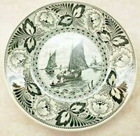 Delfts by Boch Vintage Plate Black And White Windmill Sailing Ships 9""