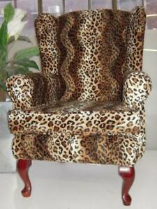 Traditional Queen Anne Style BROWN LEOPARD ANIMAL PRINT Wing CHAIR