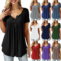 Womens Summer Tunic Tops Plus Size Casual Loose Tops Blouse Solid Shirt T-Shirt