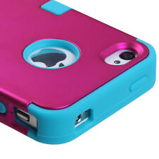 For iPhone 4 4S Rubber IMPACT TUFF HYBRID Case Skin Phone Cover Rose Pink Teal