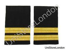 2 Bar Black Pilot Airline, Merchant Marine Epaulette, Gold Strips Epaulettes