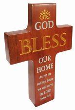 Christian brown wood God Bless Our Home Cross 16cm standing desk gift wooden