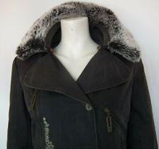 OXBOW Designer Femmes ciré parka manteau vert fourrure synthétique col taille 2 UK10 EU38