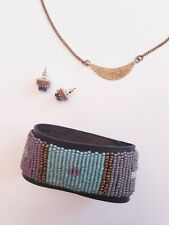 ME TO WE Crescent Moon Pendant Necklace + Beaded Leather Earrings + Bracelet