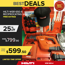 HILTI WSR 650-A CORDLESS RECIPROCATING SAW, PREOWNED, FREE EXTRAS, FAST SHIP