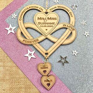 Personalised Wedding Keepsake Gift Infinity Bow Love Heart Alternative Horseshoe